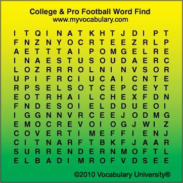 Football-College & Pro vocabulary games, Football-College ...
